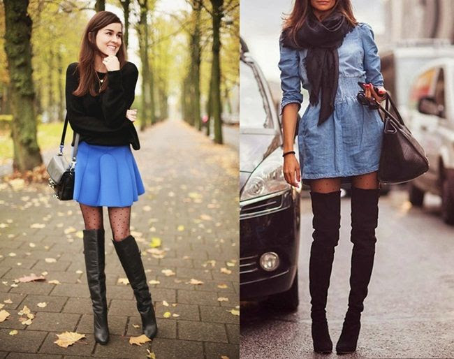 WINTER MUST: HOW TO WEAR OVER-THE-KNEE BOOTS - Polka-dot tights and thigh-high boots via StyleScrapBook (L) and GirlBelieve