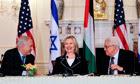 Benjamin Netanyahu, Hillary Clinton and Mahmoud Abbas