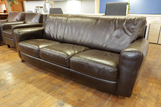 Brown Leather Sofa — Peartree Office Furniture