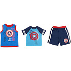 Altatac Marvel Toddlers 3PC Tank Top, T-Shirt & Shorts Set, Captain America, Blue