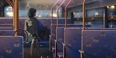 anime night city woman lonely woman bus night bus