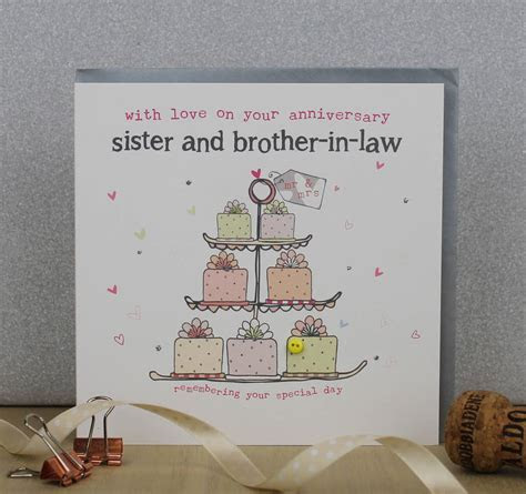 sister and brother in law wedding anniversary card by