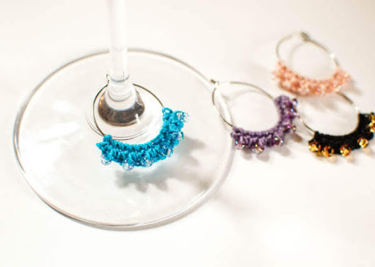 Beaded Crochet Wine Glass Charms - Petals to Picots