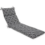 """72.5"""" Traliccio Maglia Black and White Outdoor Patio Chaise Lounge Cushion by Christmas Central"""