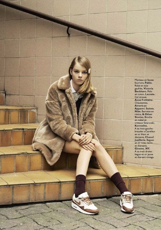 LE FASHION BLOG MARGOT TENENBAUM INSPIRED EDITORIAL GRAZIA FRANCE GWYNETH PALTROW ROYAL TENENBAUMS MOVIE STYLE PHOTOGRAPHER EMANUELE FONTANESI STYLED BY CHARLOTTE BRIERE MODEL GWEN LOOS BLUNT LONG BOB SIDE PART HAIR CLIP NATURAL BEAUTY GREY BROWN TEDDY FUR COAT WHITE COLLARED SHIRT LAYERED EMBELLISHED BURGUNDY KNIT SWEATER BROWN ANKLE SOCKS NIKE AIR MAX 90 WHITE COPPER METALLIC SNEAKERS 3 photo LEFASHIONBLOGMARGOTTENENBAUMINSPIREDEDITORIALGRAZIAFRANCE3.jpg