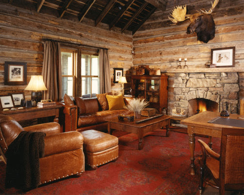 Log Cabin Family Rooms Home Design Ideas, Pictures ...