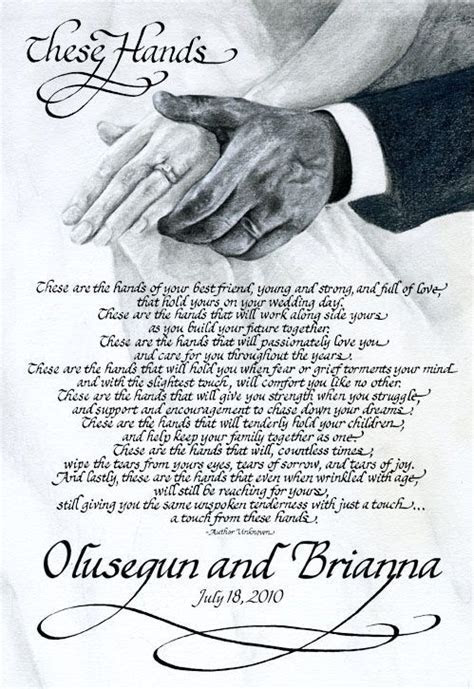 These Hands Wedding Poem. Found this, SO cute! I want this