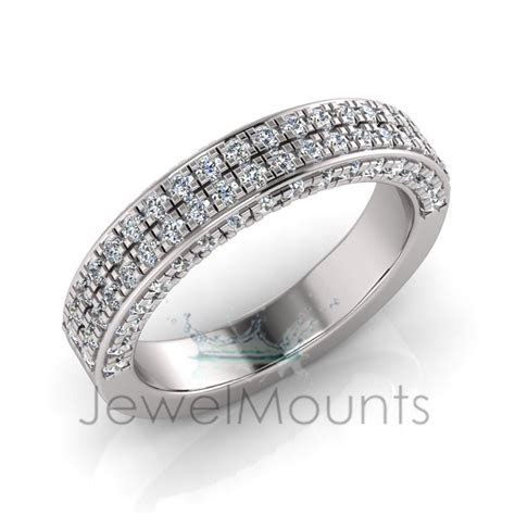 Double Row Micro Pave Set Wedding Ring Matching Wedder For