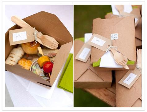 Cute pre packed picnic snacks for guests to munch on after