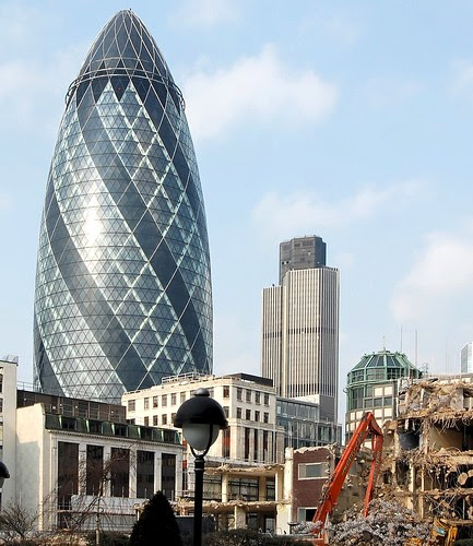 Gherkin, Tower 42 and demolition