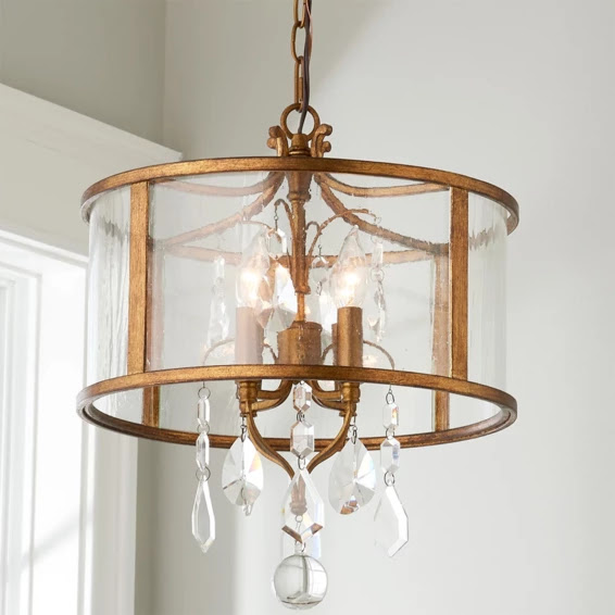 Vintage Modern Gold and Crystal Mini Chandelier