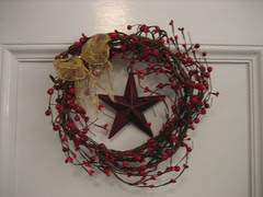 Country Christmas wreath and star