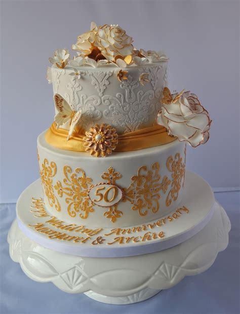 Golden Wedding Anniversary Cake   CakeCentral.com