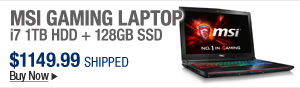 Newegg Flash – MSI Gaming Laptop i7 1TB HDD + 128GB SSD