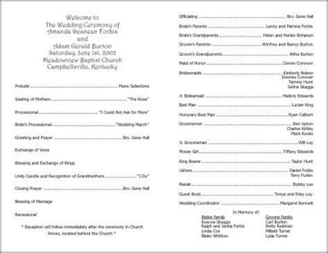 Wedding Programs Examples on Wedding Programs Sample Front