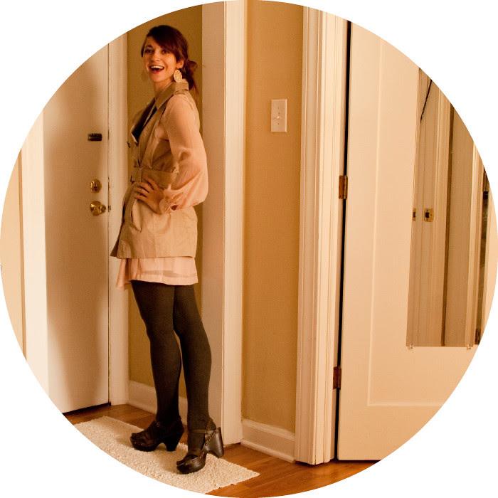 dashdotdotty, how to wear, outfit blog, trench sans sleeves, belt-a-saurus, tan, pink, cloggish heels, target, h&m