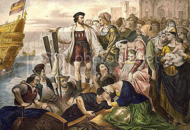 Christopher Columbus and his crew leaving the port of Palos, Spain, for the New World