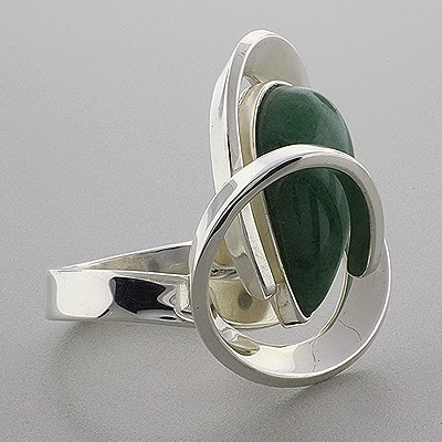 Austrian Crystal Jewelry Sterling Silver Ring Jade Stone