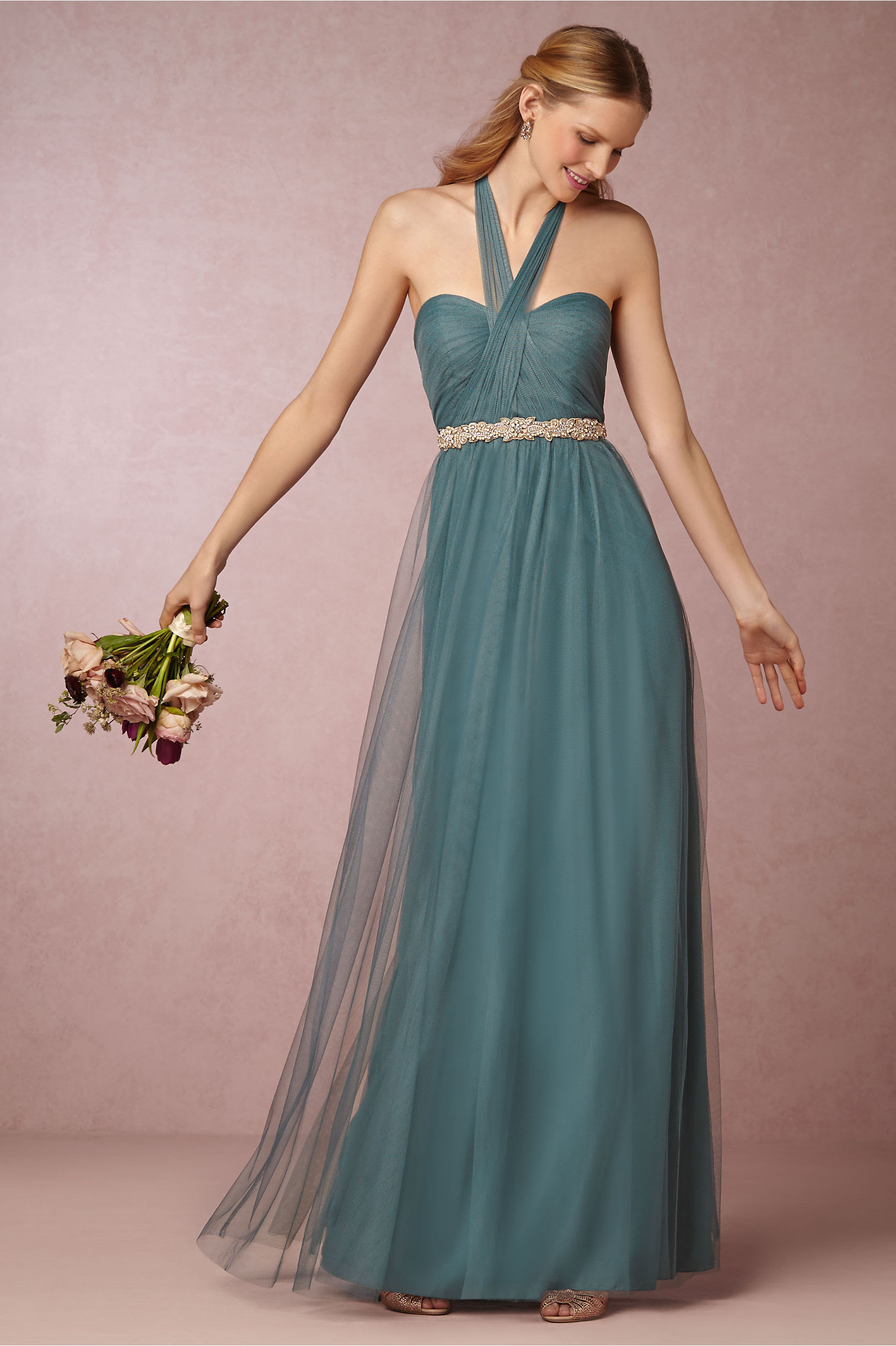 Hater Neck Emerald Green Tulle  Pleated Vintage Bridesmaid Dress with Crystal Band _3