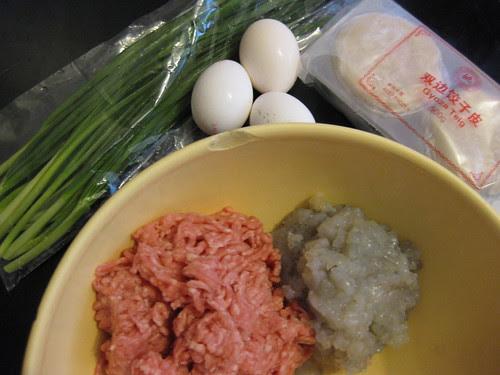 Pork chives shrimp egg dumplings