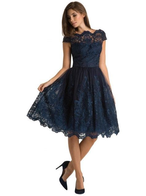 Stunning navy lace knee length scallop neck midi elegant