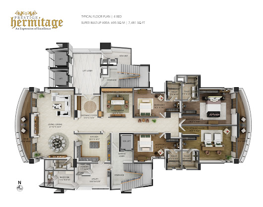 Luxurious 4 BHK Apartments at Prestige Hermitage