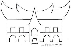 Sketsa Rumah Gadang Minangkabau