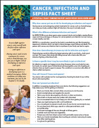 Cancer, Infection, and Sepsis Fact Sheet: A potentially deadly combination that every cancer patient should know about