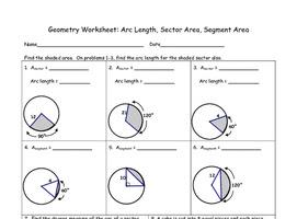 Geometry Worksheet: Arc Length, Sector Area, Segment Area TpT