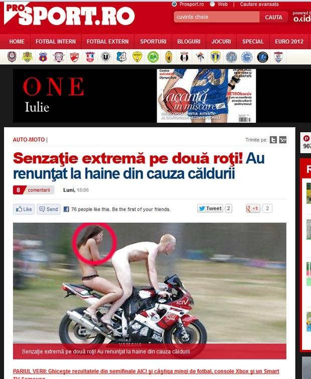 Casal foi fotografado em uma situação curiosa na Romênia. (Foto: Reprodução)