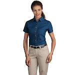 Port & Company LSP11 Ladies Short Sleeve Value Denim Shirt - Ink Blue