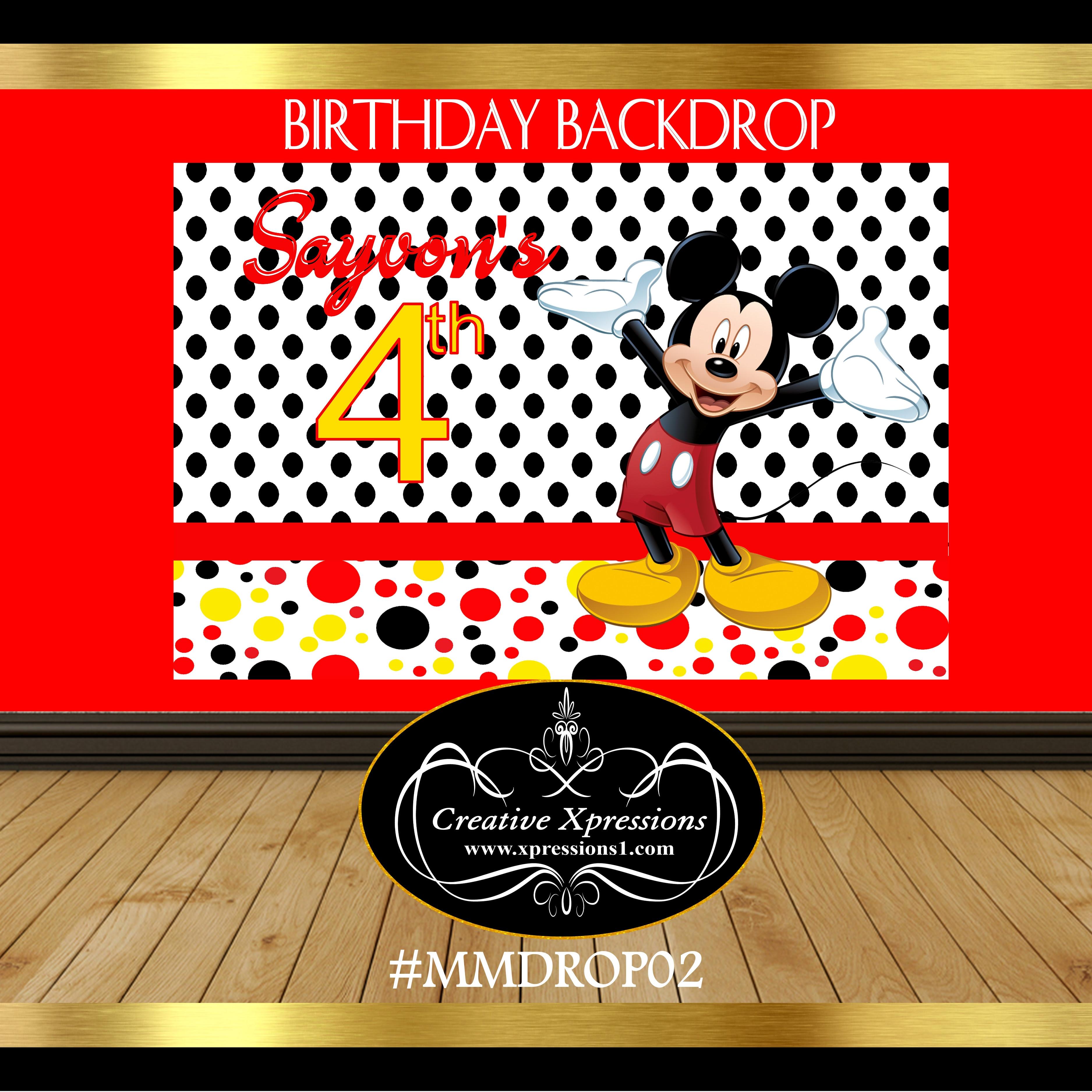 Mickey Mouse Dots Backdrop
