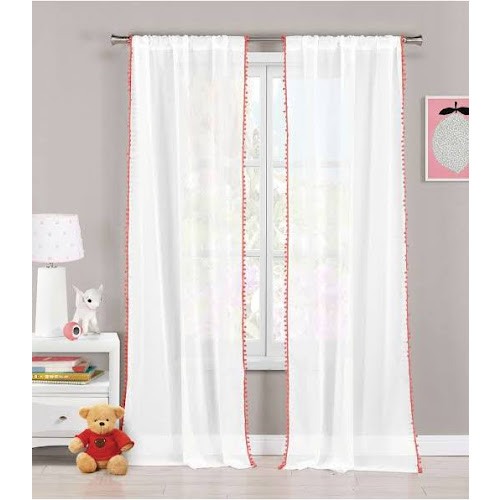 Lala+Bash Aveline Trim Curtain Panel Pair With Pom Pom Tie Back Coral