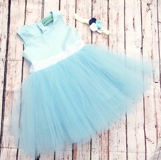 Tulle Blue Dress & Floral Headband Age 2 Free by VincentValerieUK