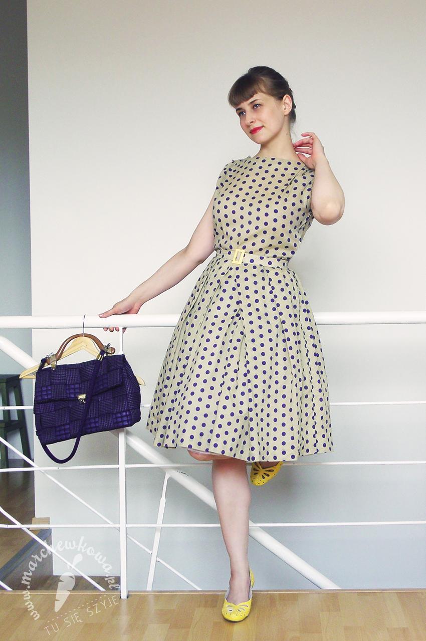 marchewkowa, szycie, sewing, vintage, retro, moda, fashion, DIY, handame, rękodzieło, wykrój, pattern, Szycie krok po kroku, Burda Easy 2009, 1960s, lata '60., grochy, polka dots