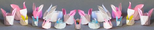 origami de coelho caixas
