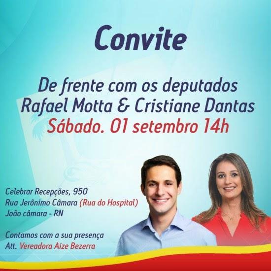 João Câmara: Vereadora Aize realizará evento com candidatos Rafael Motta e Cristiane Dantas