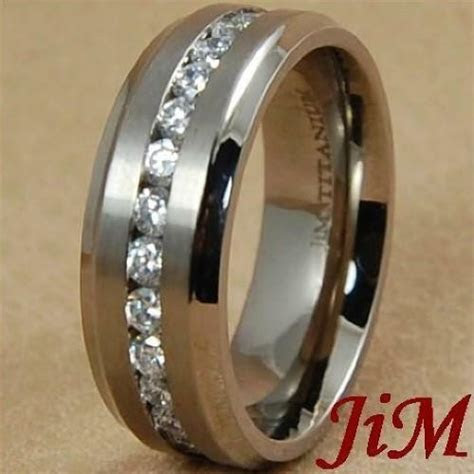 8MM Titanium Wedding Band Diamond Around Men's Ring Bridal