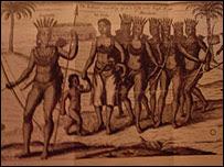 Grabado sobre los kunas en el siglo XVIII.
