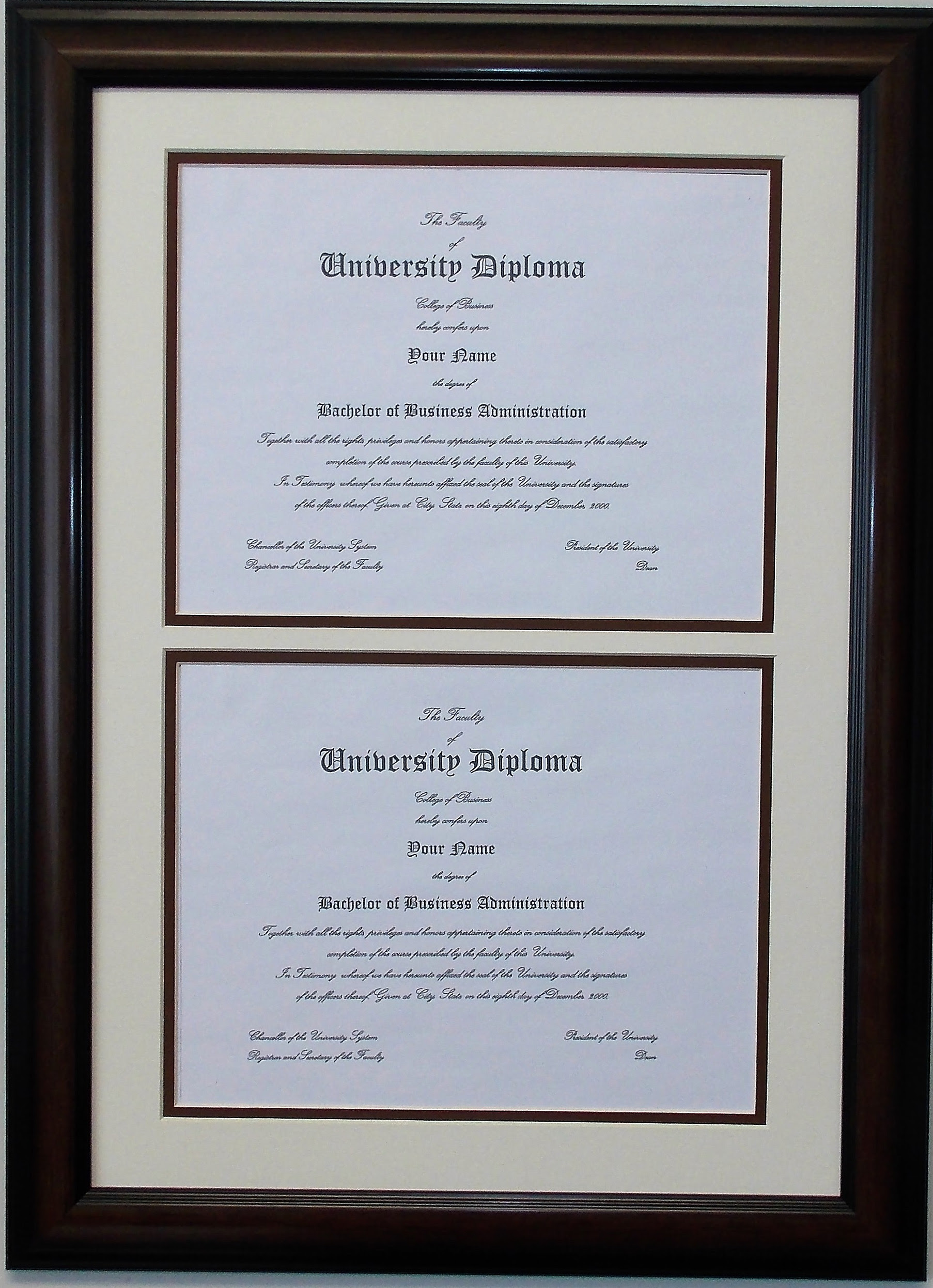 Double Diploma Document Certificate Openings Wood Picture Frame For