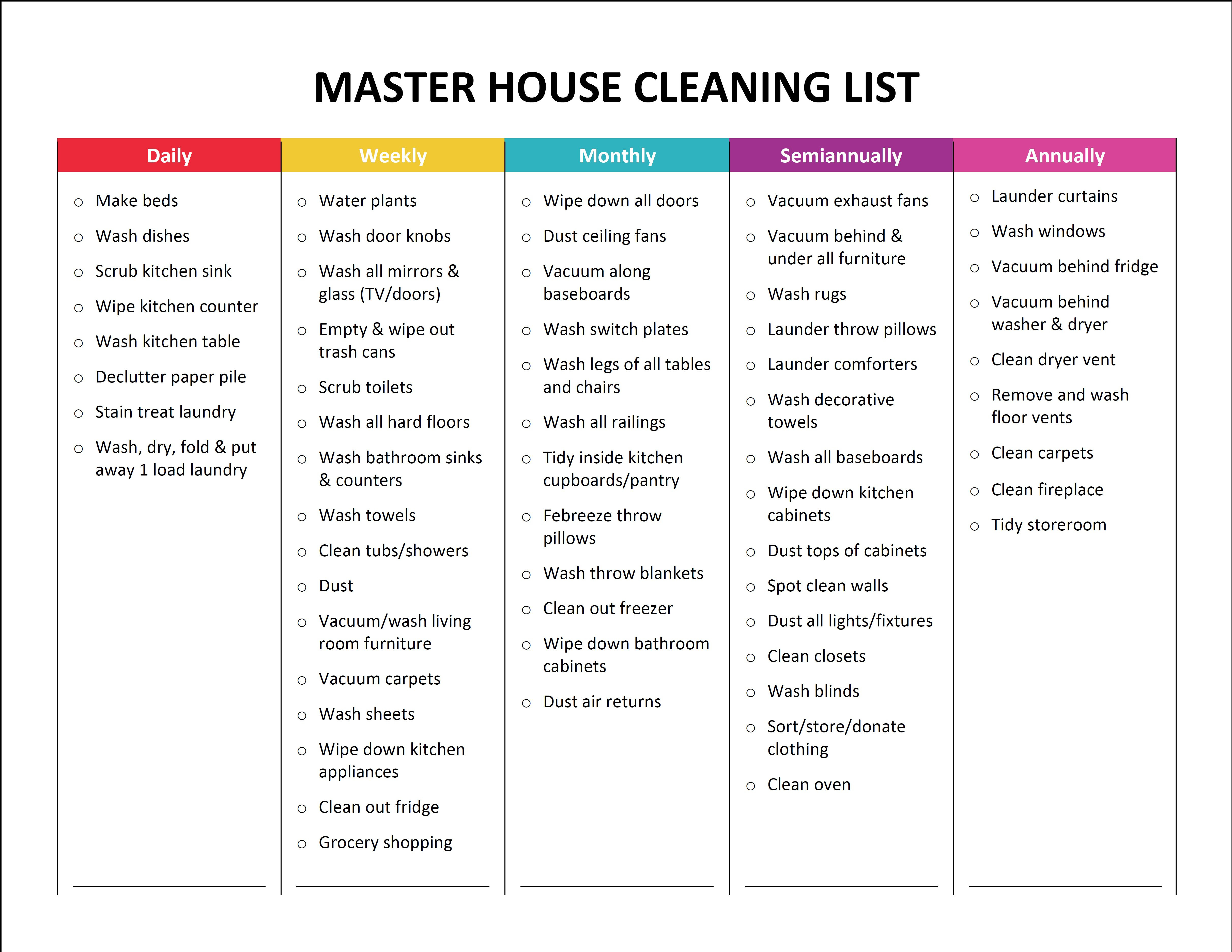 Complete Housekeeping Printable Set! | Daily chore list, House ...