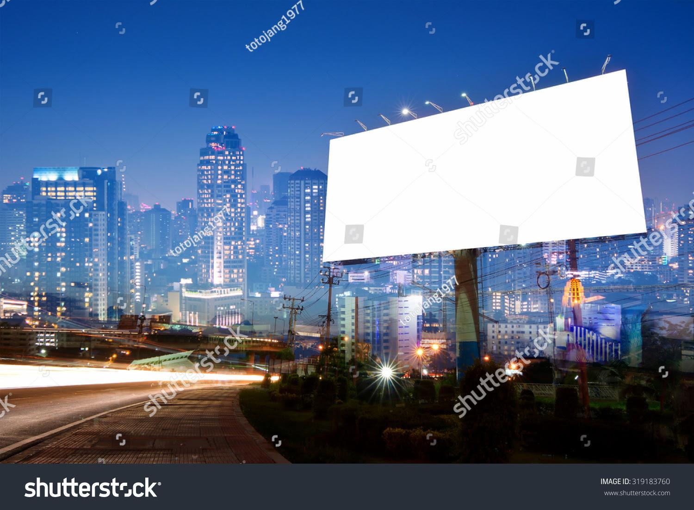 Double Exposure Blank Billboard On City Stock Photo 319183760 ...