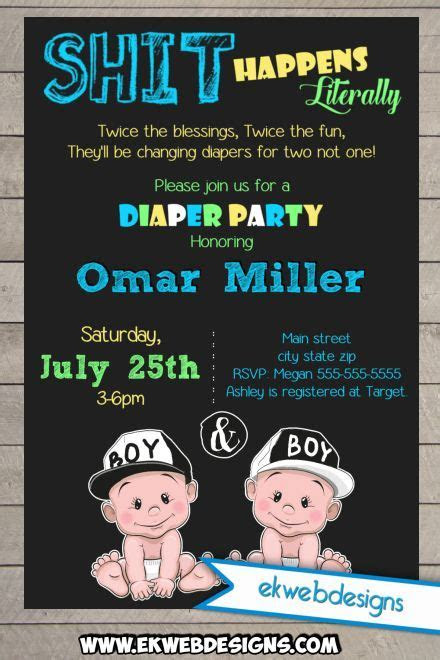 Twin Diaper Party Baby Shower Invitations   Sh*t Happens