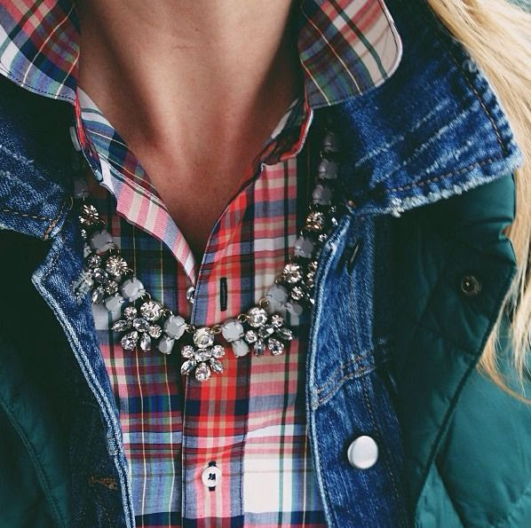 Fall layers of plaid, denim