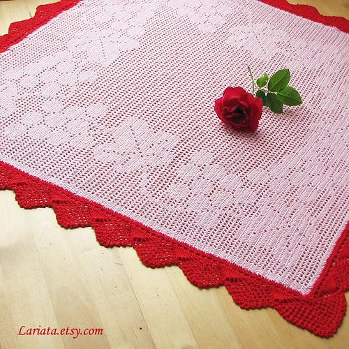 crocheted doily in pink with vintage crocheted lace