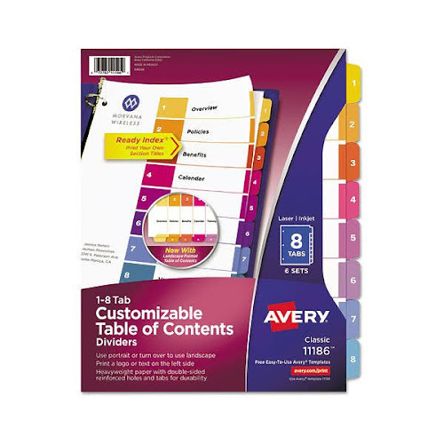 Google Express Avery Customizable Table Of Contents Dividers