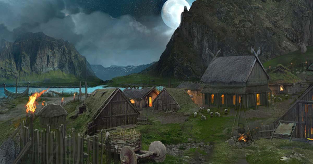Artist's impression of a Viking camp