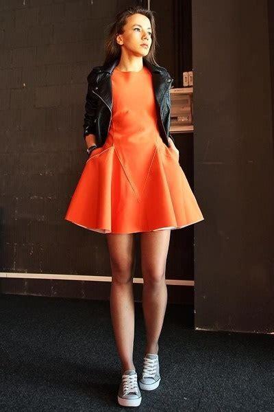 Orange and black dress