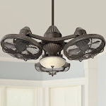 "Casa Vieja 38"" Esquire Solid Bronze 3-Head LED Ceiling Fan"