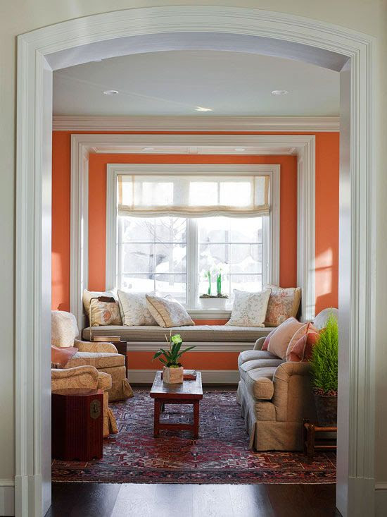 We'd love to relax with our favorite book in this calming nook! See more pretty rooms: http://www.bhg.com/home-improvement/remodeling/architectural-details/home-design-ideas-distinctive-ceilings/?socsrc=bhgpin022713orangewindowseat=10